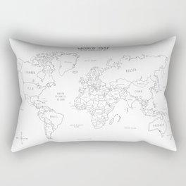 World Map minimal sketchy black and white Rectangular Pillow