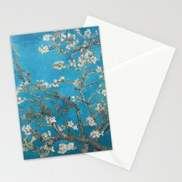 Vincent van Gogh Blossoming Almond Tree (Almond Blossoms) Medium Blue Stationery Cards
