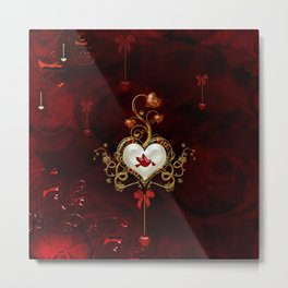 Wonderful hearts with dove Metal Print