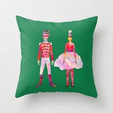 Nutcracker Ballet - Candy Cane Green Throw Pillow