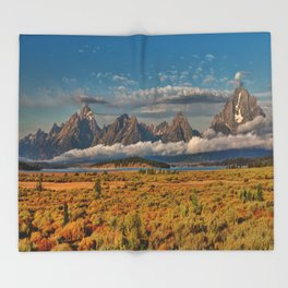 The Grand Tetons Panorama Throw Blanket