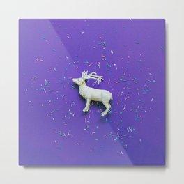 white deer on ultra viotel background Metal Print