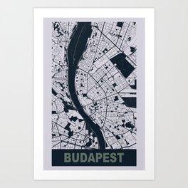 Budapest, Hungary, city map, Mischka grey Art Print