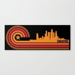 Retro Style Singapore Skyline Canvas Print