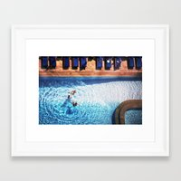 pool Framed Art Prints featuring pool by kolya korzh