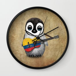 Baby Penguin Playing Colombian Flag Acoustic Guitar Wall Clock