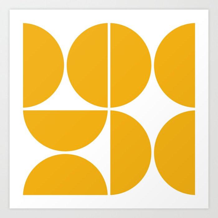 Mid Century Modern Yellow Square Art Print