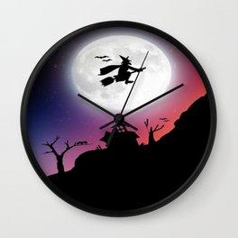 Purple Halloween Witch Silhouette Wall Clock