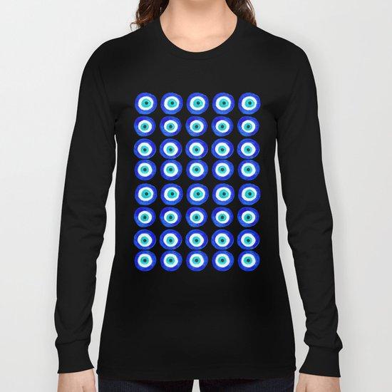 Evil Eye Talisman - on black Long Sleeve T-shirt