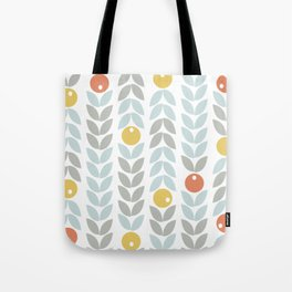 Mid Century Modern Retro Leaf and Circle Pattern Tote Bag