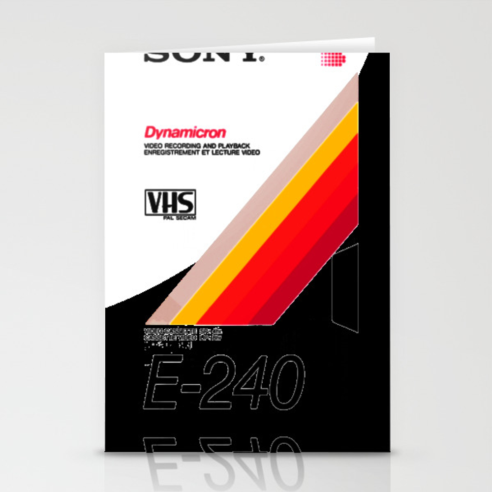 Retro Vhs Tape Vaporwave Aesthetic Stationery Cards by Thanart CRD8925340