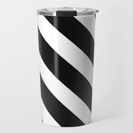CVS0096 Black and White wide slanted angled stripes Travel Mug