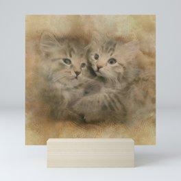 Two Cute Gray Striped Kittens Mini Art Print