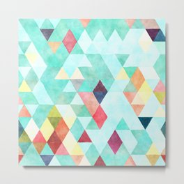 Modern abstract pink aqua turquoise watercolor geometrical Metal Print