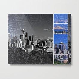 Seattle Blue Grey Mosaic Metal Print