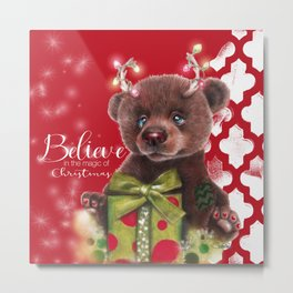 Bruno Christmas Bear (Rudolph Fan) Metal Print