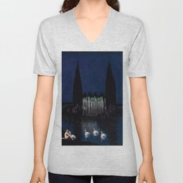 Château enchanté with woman & swans portrait by Bolesław Biegas Unisex V-Neck