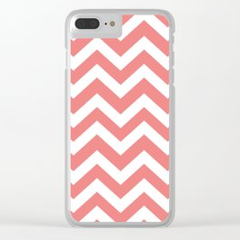 Light coral - pink color -  Zigzag Chevron Pattern Clear iPhone Case