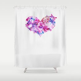 Dragonfly Heart- Pink and Blue Shower Curtain
