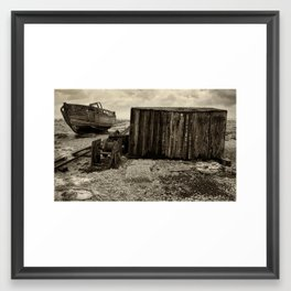 Abandoned Fishing Boat, Winch and Hut Framed Art Print