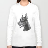 doberman Long Sleeve T-shirts featuring Doberman by Danguole Serstinskaja