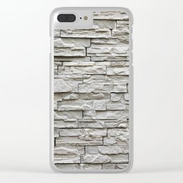 Gray brick wall background Clear iPhone Case