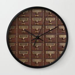 Vintage Library Card Catalog Drawers 2017 Calendar Wall Clock