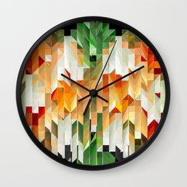 Geometric Tiled Orange Green Abstract Design Wall Clock