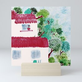 Village houses in the woods watercolor Mini Art Print