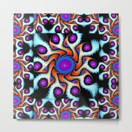 Tiled Swirly fractal pattern in purple, blue, orange and cream Metal Print