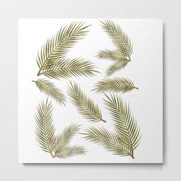 Green Gold Glitter Tropical Leaves Metal Print