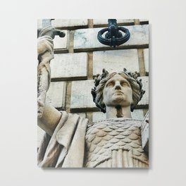 """""""Sculpture on Federal Reserve Bank, Cleveland"""" Photography by Willowcatdesigns Metal Print"""