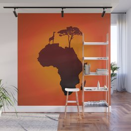 African Safari Map Silhouette Background Wall Mural