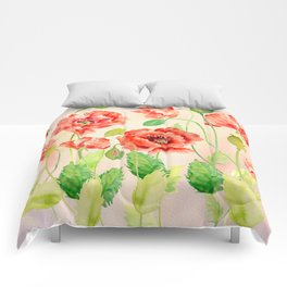 Watercolor Red Oriental Poppies Comforters