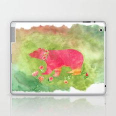 Bear  with flowers - Animal watercolor illustration Laptop & iPad Skin