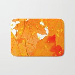 Fall Orange Maple Leaves On A White Background  Bath Mat