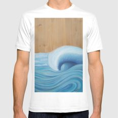 Wooden Wave Scape Mens Fitted Tee MEDIUM White