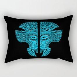 Blue and Black Aztec Twins Mask Illusion Rectangular Pillow