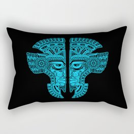 Blue and Black Aztec Twins Mask Illusion Rectangular Pillow