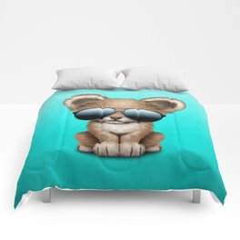 Cute Baby Lion Wearing Sunglasses Comforters