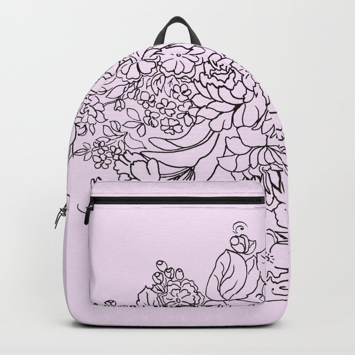 arrangement of flowers and leaves Backpack