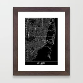 Miami Black Map Framed Art Print