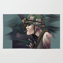AK47 Soldier Girl Rug