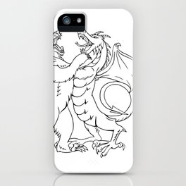Bear Fighting Chinese Dragon Drawing Black and White iPhone Case