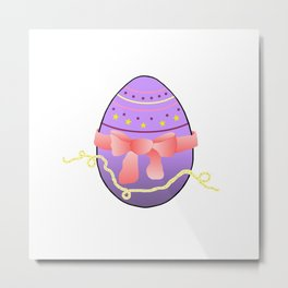 Egg and Pink Bow 01 Metal Print
