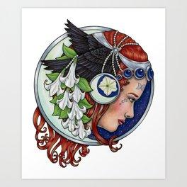 Moon Raven by Bobbie Berendson W Art Print
