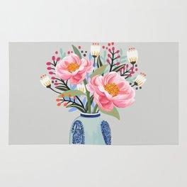 Vase illustration, flower, floral, blossom print Rug