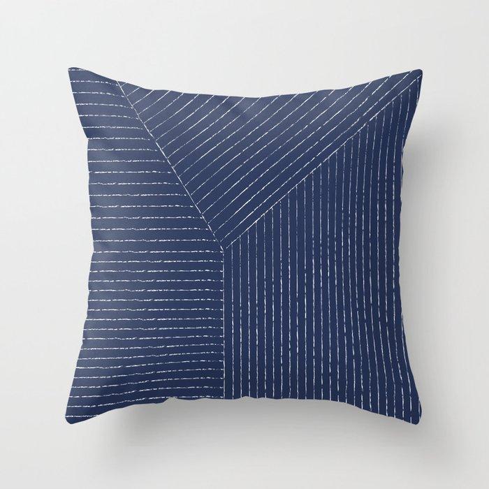 Lines / Navy Throw Pillow