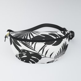 Black N White Monstera And Palm Leaves Fanny Pack