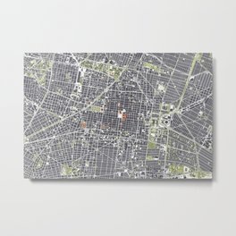 Mexico city map engraving Metal Print